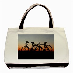 Bicycles Wheel Sunset Love Romance Basic Tote Bag (two Sides)