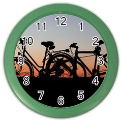 Bicycles Wheel Sunset Love Romance Color Wall Clocks