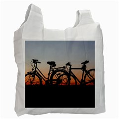 Bicycles Wheel Sunset Love Romance Recycle Bag (two Side)