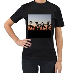 Bicycles Wheel Sunset Love Romance Women s T Shirt (black)