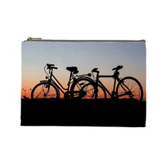 Bicycles Wheel Sunset Love Romance Cosmetic Bag (large)