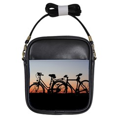 Bicycles Wheel Sunset Love Romance Girls Sling Bags