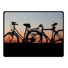 Bicycles Wheel Sunset Love Romance Fleece Blanket (small)