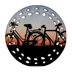 Bicycles Wheel Sunset Love Romance Round Filigree Ornament (2side)