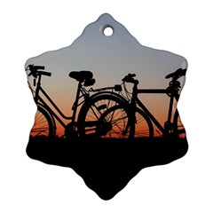 Bicycles Wheel Sunset Love Romance Snowflake Ornament (2 Side)