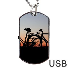 Bicycles Wheel Sunset Love Romance Dog Tag Usb Flash (two Sides)