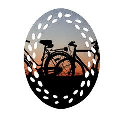 Bicycles Wheel Sunset Love Romance Oval Filigree Ornament (2 Side)