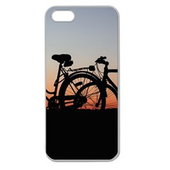 Bicycles Wheel Sunset Love Romance Apple Seamless Iphone 5 Case (clear)