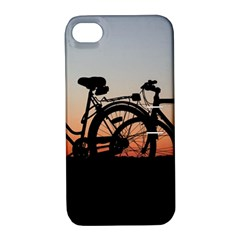 Bicycles Wheel Sunset Love Romance Apple Iphone 4/4s Hardshell Case With Stand