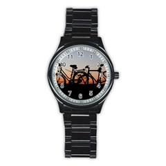 Bicycles Wheel Sunset Love Romance Stainless Steel Round Watch