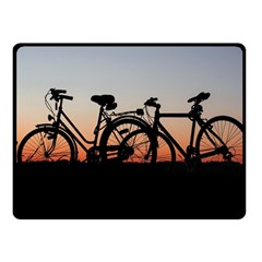 Bicycles Wheel Sunset Love Romance Double Sided Fleece Blanket (small)