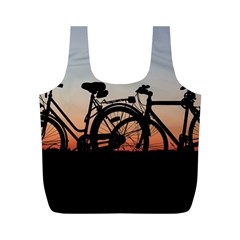 Bicycles Wheel Sunset Love Romance Full Print Recycle Bags (M)