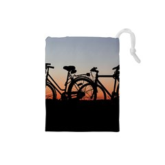 Bicycles Wheel Sunset Love Romance Drawstring Pouches (small)