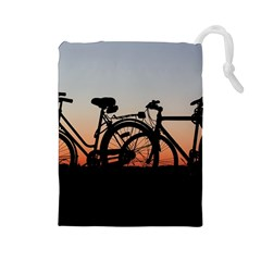 Bicycles Wheel Sunset Love Romance Drawstring Pouches (large)