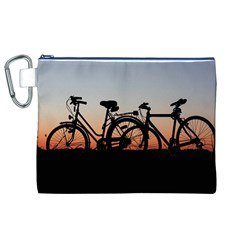 Bicycles Wheel Sunset Love Romance Canvas Cosmetic Bag (xl)