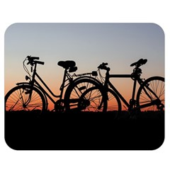 Bicycles Wheel Sunset Love Romance Double Sided Flano Blanket (medium)