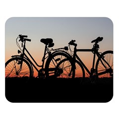 Bicycles Wheel Sunset Love Romance Double Sided Flano Blanket (large)