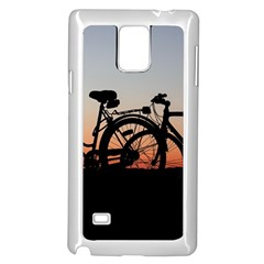 Bicycles Wheel Sunset Love Romance Samsung Galaxy Note 4 Case (white)