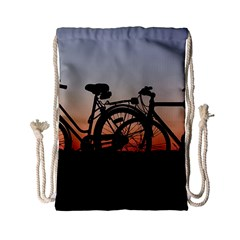 Bicycles Wheel Sunset Love Romance Drawstring Bag (small)
