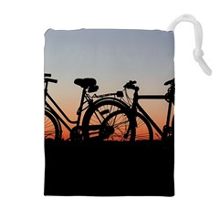 Bicycles Wheel Sunset Love Romance Drawstring Pouches (extra Large)
