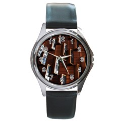 Abstract Architecture Building Business Round Metal Watch