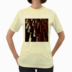 Abstract Architecture Building Business Women s Yellow T Shirt