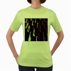 Abstract Architecture Building Business Women s Green T Shirt
