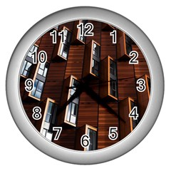 Abstract Architecture Building Business Wall Clocks (silver)