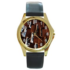 Abstract Architecture Building Business Round Gold Metal Watch