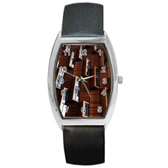 Abstract Architecture Building Business Barrel Style Metal Watch