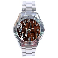 Abstract Architecture Building Business Stainless Steel Analogue Watch