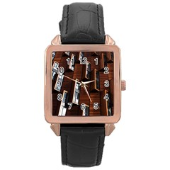 Abstract Architecture Building Business Rose Gold Leather Watch