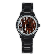 Abstract Architecture Building Business Stainless Steel Round Watch