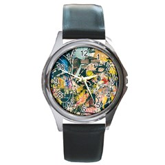 Art Graffiti Abstract Vintage Lines Round Metal Watch
