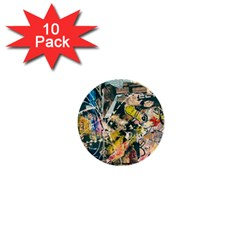 Art Graffiti Abstract Vintage Lines 1  Mini Buttons (10 Pack)