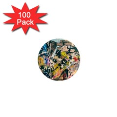 Art Graffiti Abstract Vintage Lines 1  Mini Magnets (100 Pack)