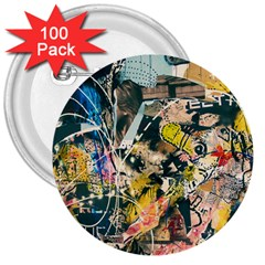 Art Graffiti Abstract Vintage Lines 3  Buttons (100 Pack)