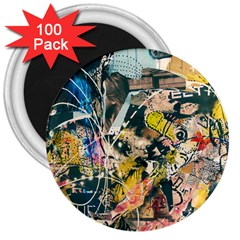 Art Graffiti Abstract Vintage Lines 3  Magnets (100 pack)