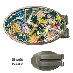 Art Graffiti Abstract Vintage Lines Money Clips (oval)