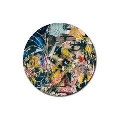 Art Graffiti Abstract Vintage Lines Rubber Coaster (round)