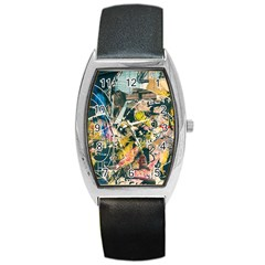 Art Graffiti Abstract Vintage Lines Barrel Style Metal Watch