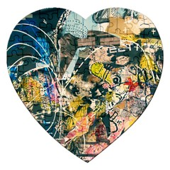 Art Graffiti Abstract Vintage Lines Jigsaw Puzzle (heart)