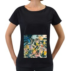 Art Graffiti Abstract Vintage Lines Women s Loose Fit T Shirt (black)