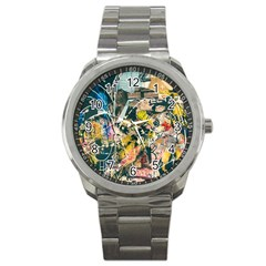 Art Graffiti Abstract Vintage Lines Sport Metal Watch