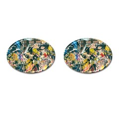 Art Graffiti Abstract Vintage Lines Cufflinks (oval)