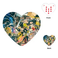 Art Graffiti Abstract Vintage Lines Playing Cards (Heart)