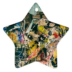 Art Graffiti Abstract Vintage Lines Star Ornament (two Sides)