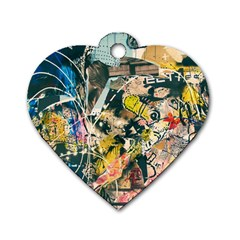 Art Graffiti Abstract Vintage Lines Dog Tag Heart (One Side)