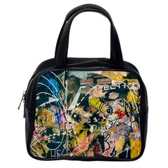 Art Graffiti Abstract Vintage Lines Classic Handbags (one Side)