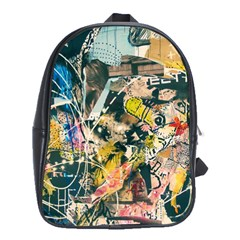 Art Graffiti Abstract Vintage Lines School Bags(large)